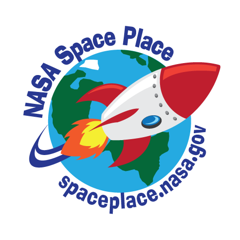 NASA Space Place Logo - rocket launching around the earth