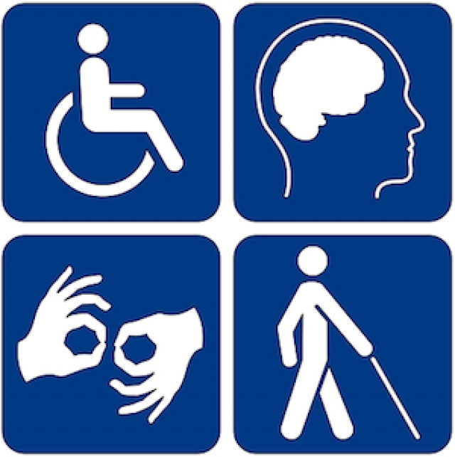 icon depicting universal symbols for physical disabilities, cognitive disabilities, hearing impaired and visually impaired