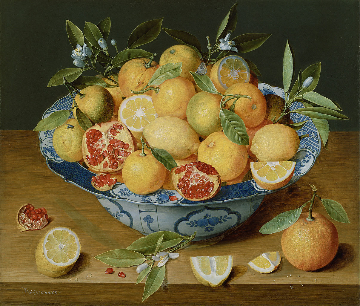 Flemish painting of a bowl filled with oranges, lemons, and pomegranates.