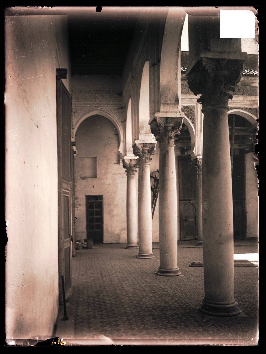 Interior view of the palace courtyard, with colonnade.