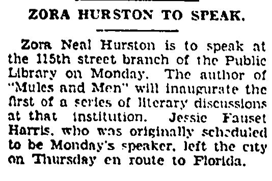 "brief news article entitled ""Zora Hurston to Speak."""
