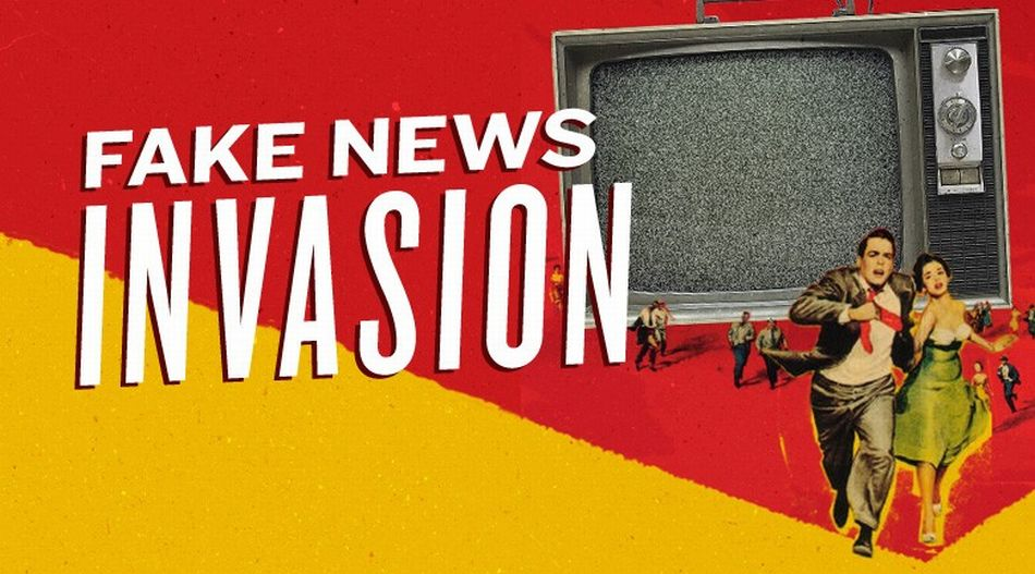 Fake news invasion graphic designed to look like a news add