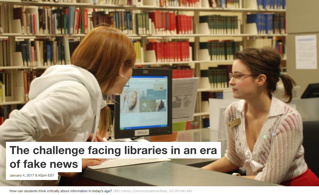 The Conversation: The challenge facing libraries in an era of fake news