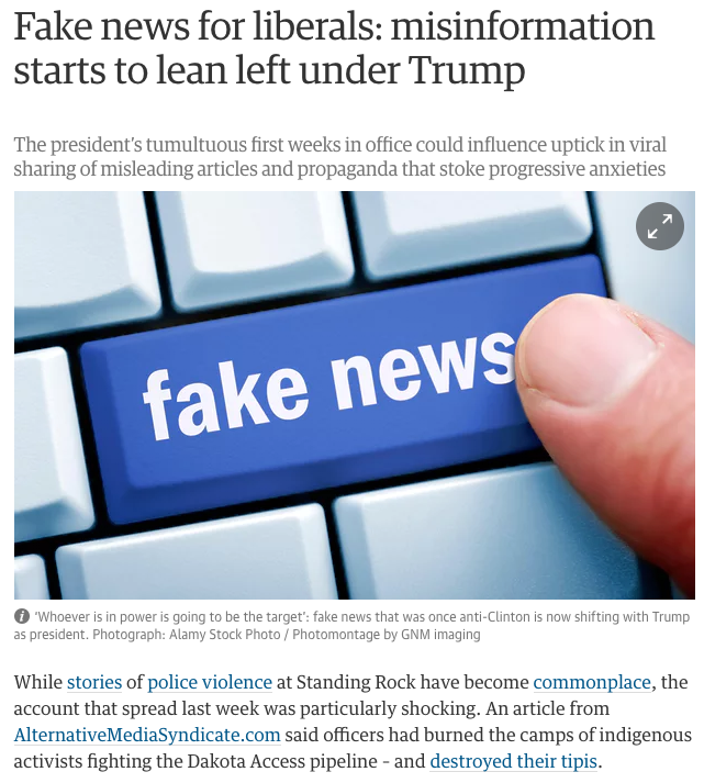 Fake news for liberals: misinformation starts to lean left under Trump