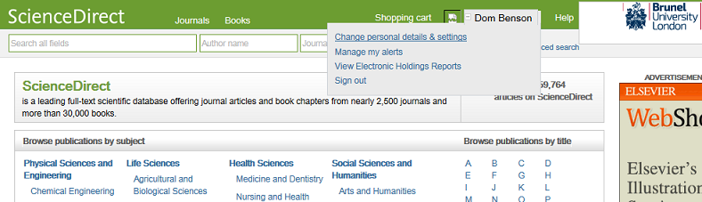 A personal account shown on ScienceDirect