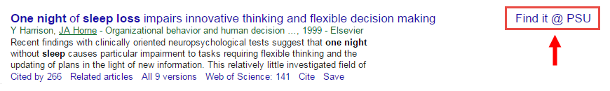 screenshot of search result in Google Scholar
