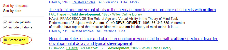 screenshot of google scholar search alert