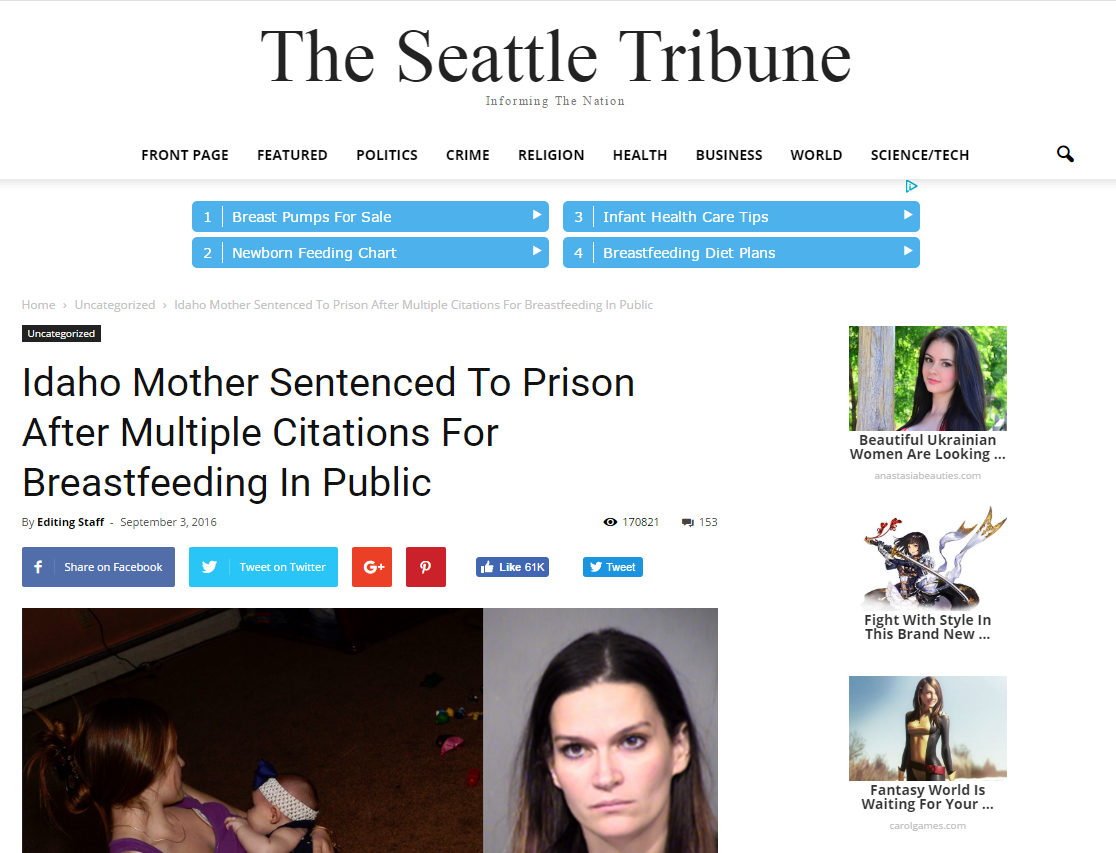 "screenshot of ""the seattle tribune"" a fake news site"