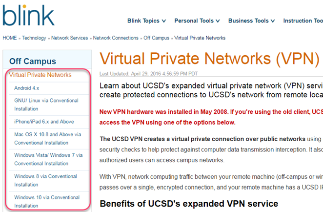 VPN page on Blink. Select your computer or device's operating system from the left menu.