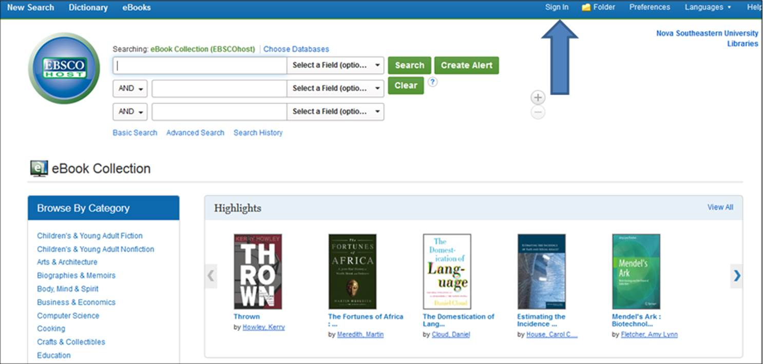 ebsco interface