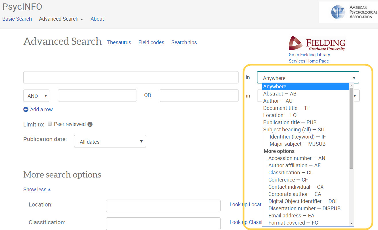 CSA Illumina Advanced Search Screen Search Fields