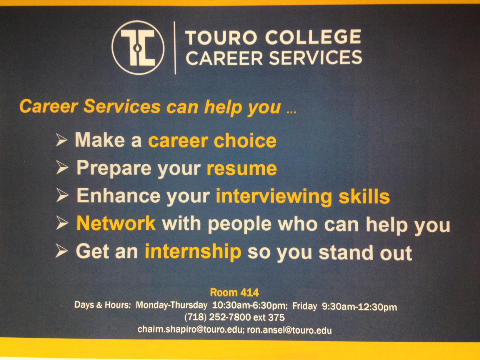 Touro College Career Services