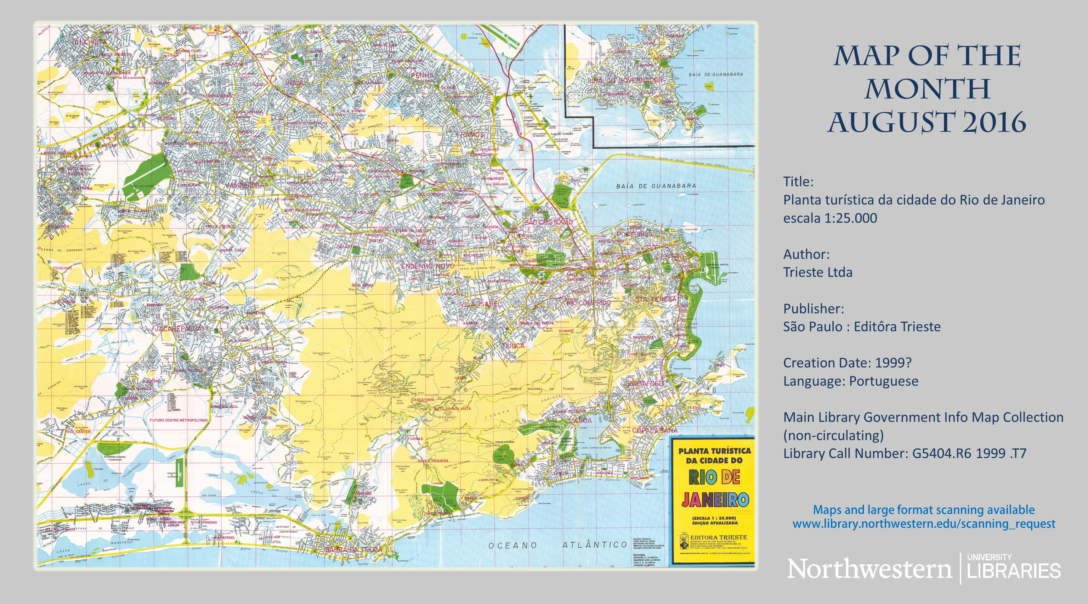 Map of the month archive map large format document scanning planta turistica dcidade do rio de janeiro august 2016 sciox Gallery