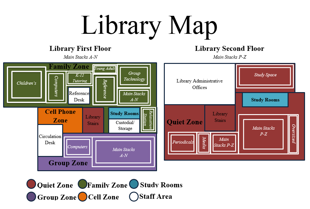This is a visual map of the library. It indicates that the first floor houses our children's and young adult collections, computers, K-12 Tutoring spaces, the reference collection, group technology, the main stacks (A-N), the reference desk, study rooms, a relaxation area, and the circulation desk. The noise levels allowed on the first floor are family noise and group noise, and a cell phone area at the front of the library. On the second floor of the library, there are administrative offices, study spaces, study rooms, periodicals, the oversized collection, and the main stacks (P-Z). The entire second floor is a quiet zone.
