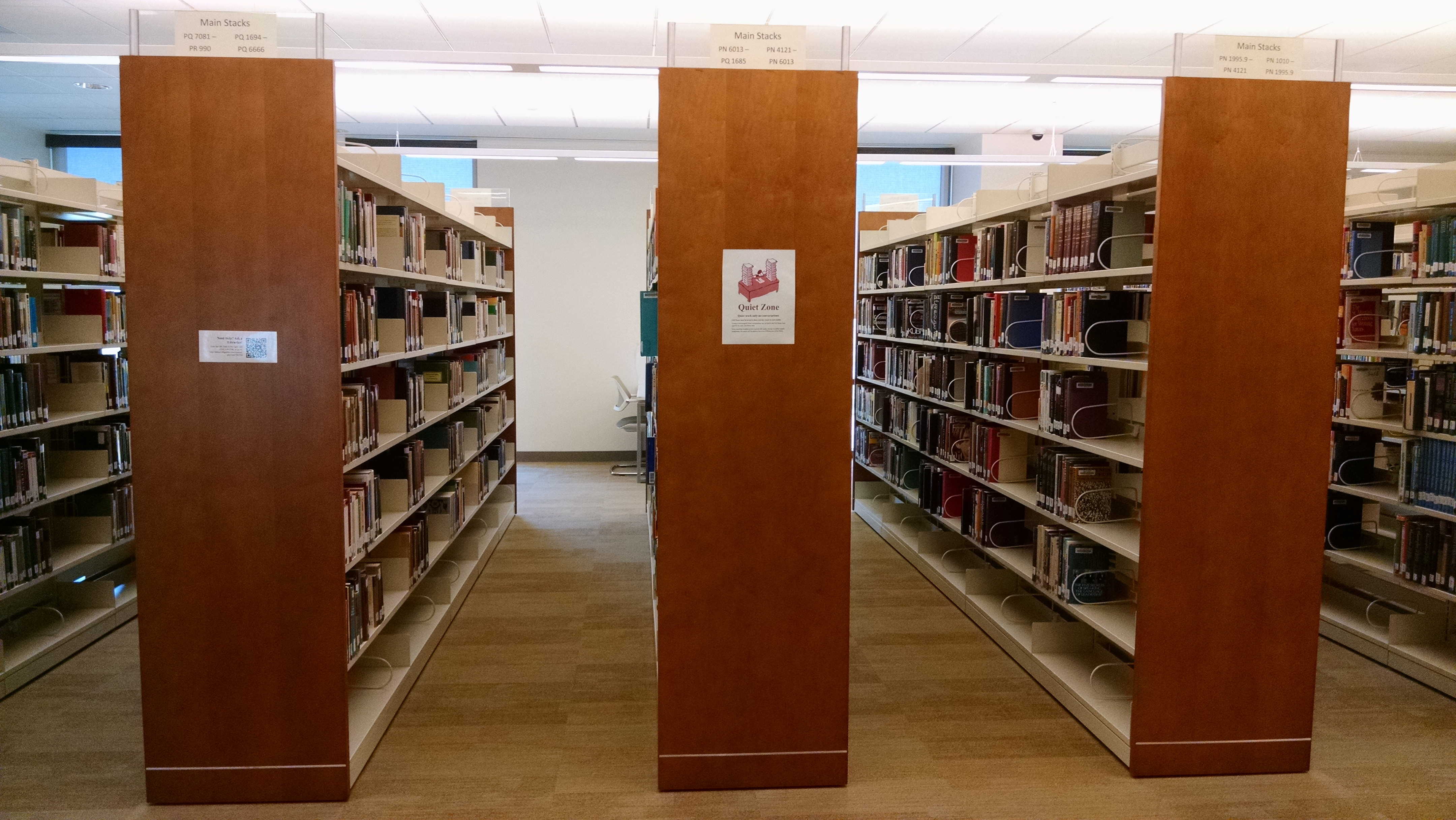 Library shelving and books.