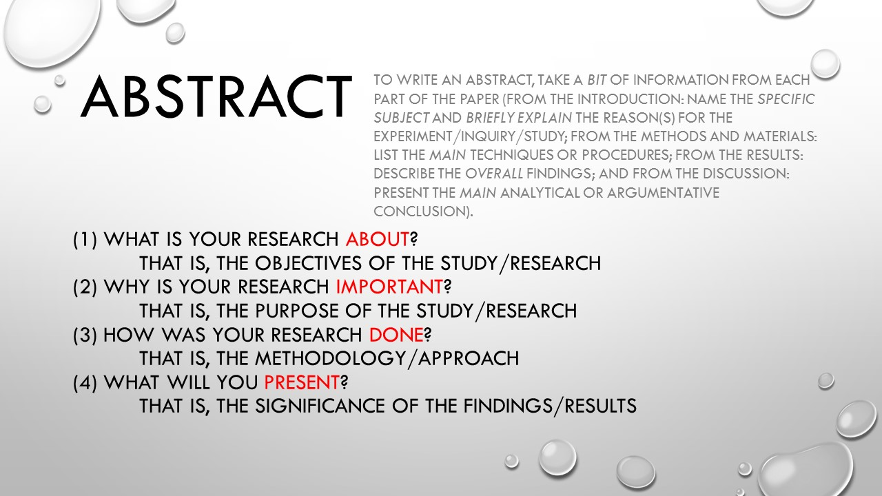 research abstract format