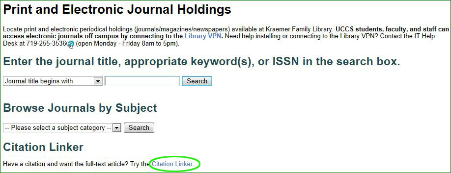 Image of journal search page with link to the citation linker