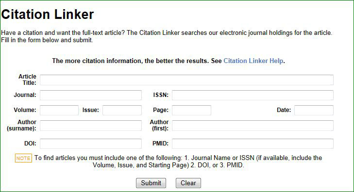 Image of citation linker search form