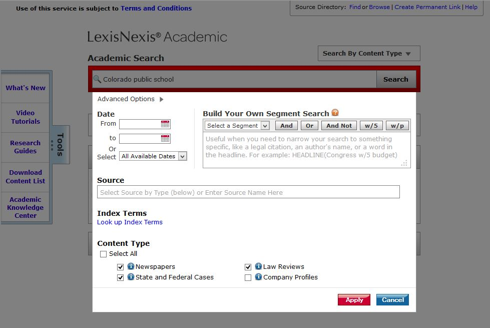 LexisNexis Advanced Options