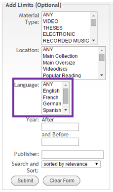 select a language from the list