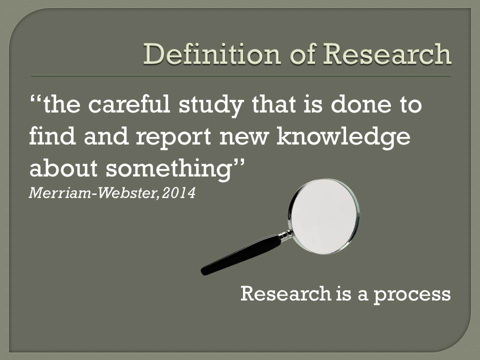 Research is the careful study that is done to find and report new knowledge about something.