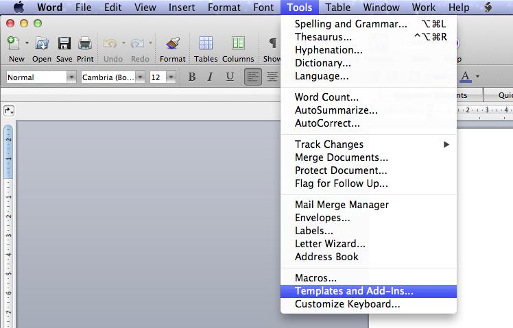 Screenshot of Tools > Templates and Add-ins menu