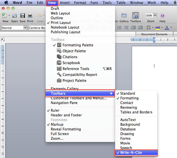 Screenshot of View > Toolbars menu