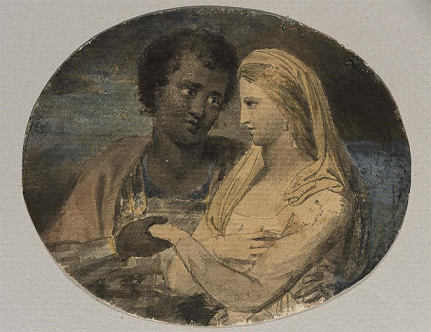 William Blake's illustration of Othello & Desdemona, from the Museum of Fine Arts in Boston