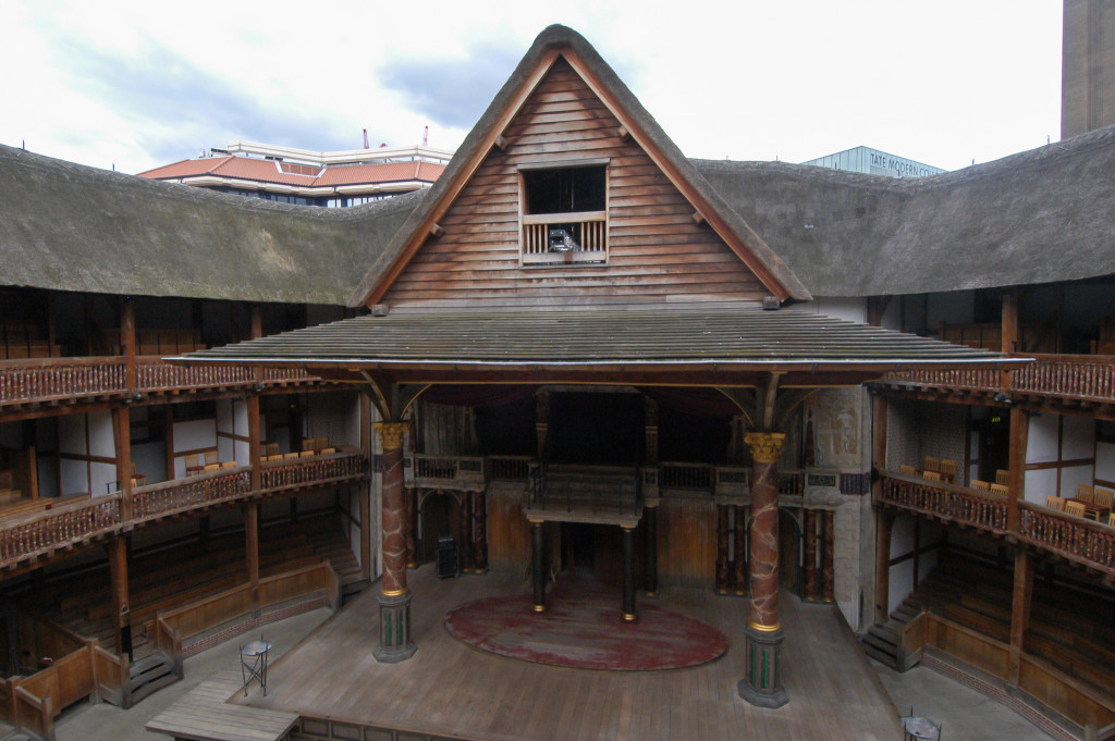 Image of wooden Globe Theatre where Shakespeare likely performed many of his own works.