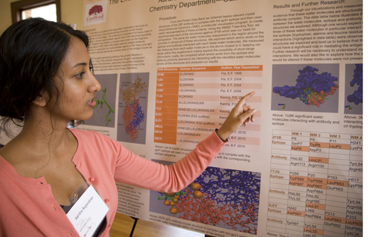 Student discusses her research poster at Guilford Undergraduate Research Symposium