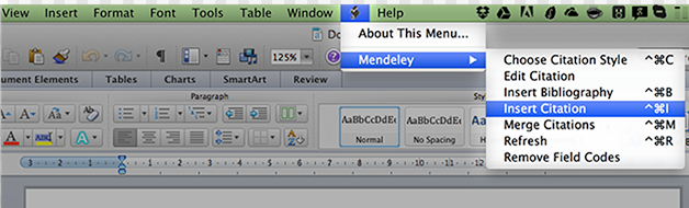 Mendeley Menu on Mac