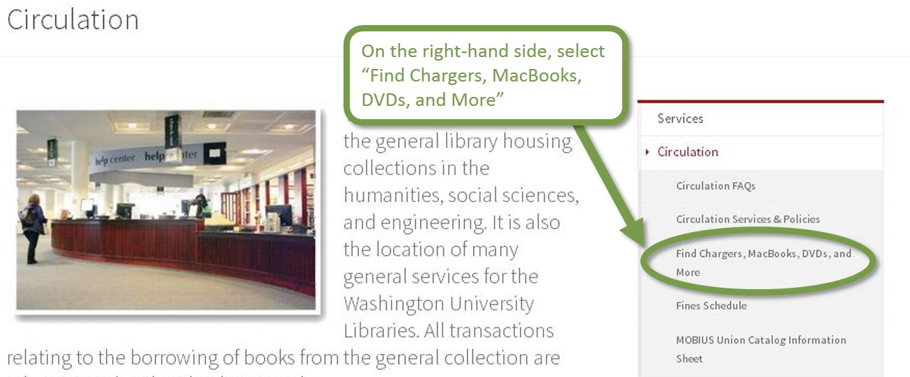 "A screenshot showing the link ""find Chargers, Macbooks, DVDs, and More"" on the right-hand side of the screen."