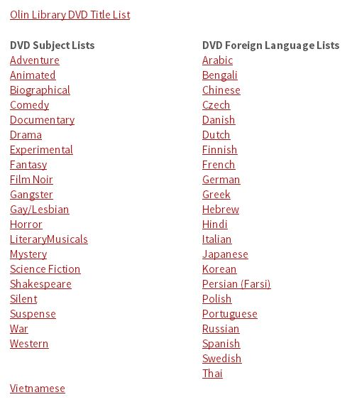 A screenshot showing the subject and foreign language lists of DVDs in Olin Library