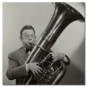 man playing tuba