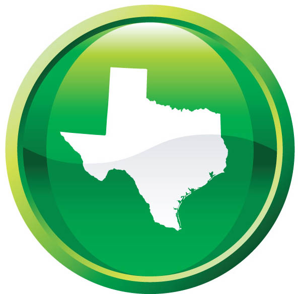 Texas map outline in green circle