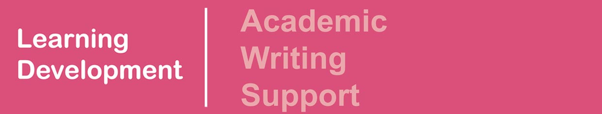 Academic Writing Support banner, accessible link in the list of database guides