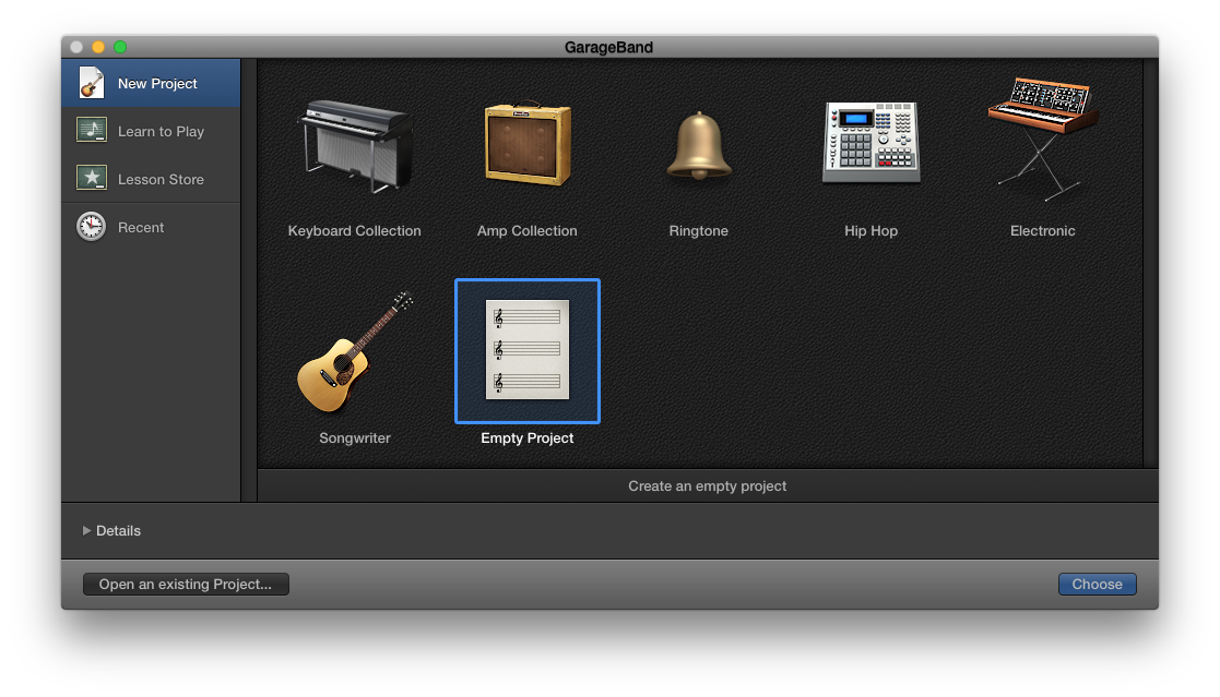 GarageBand Project Window