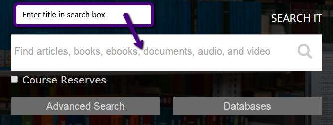 Search It box showing title search