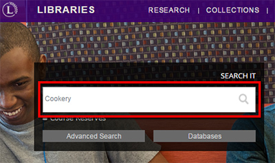 Search It box showing a search for cookery