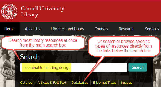 library website main search box for most resources and links below for searching specific resource types
