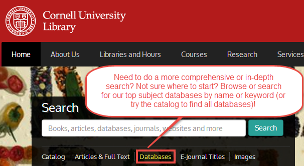 databases from main search page