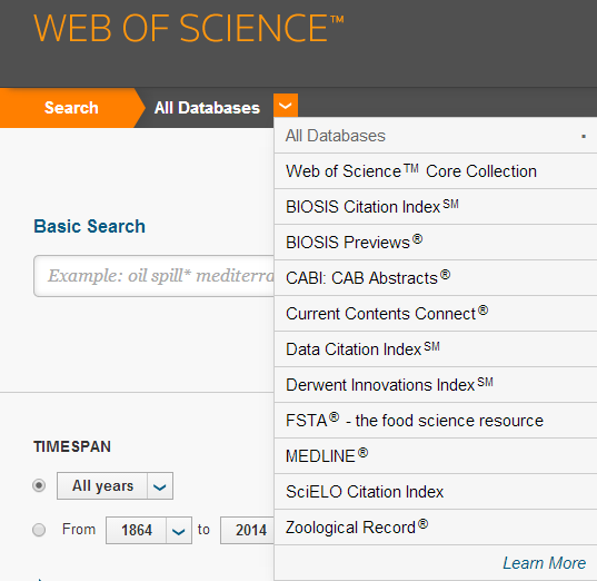 Databases in Web of Science