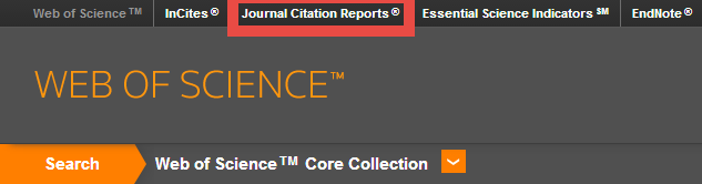 Link to Journal Citation Reports in top menu bar of Web of Science