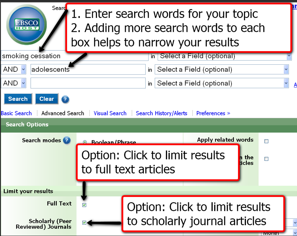EBSCO example search