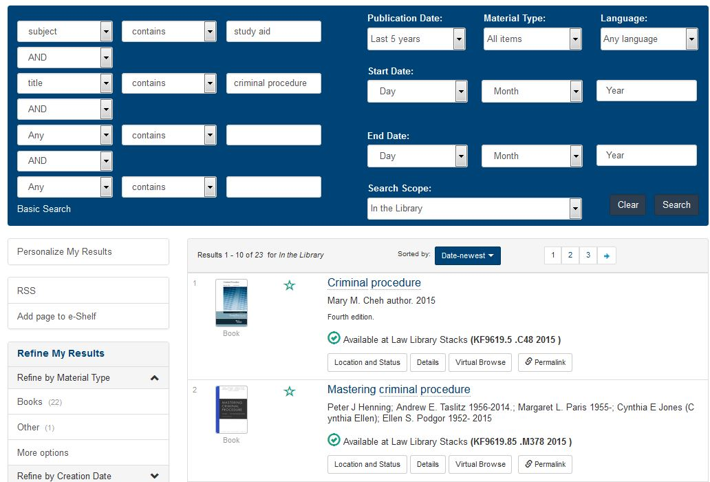 Advanced Search screen in Drake Libraries catalog
