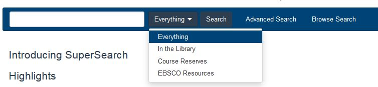 Image of Library Catalog Scope Selection