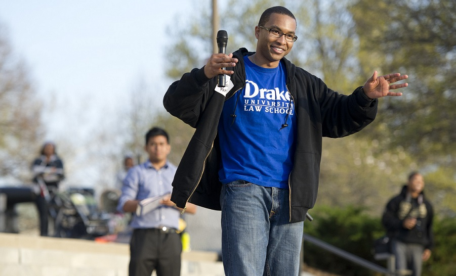 In 2012 Drake Law Student Kevin Patrick led a rally at the Capitol.