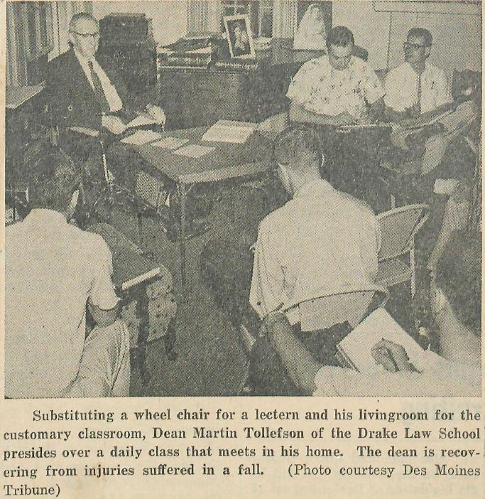 Drake Law School Dean Tollefson holds class in his living room, July 23, 1962
