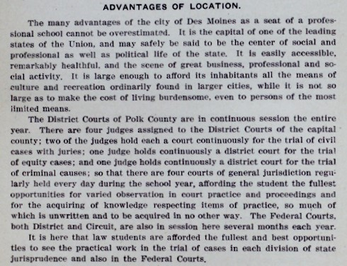 June 1906 Drake University Record explanation of the advantages of the location of Des Moines.