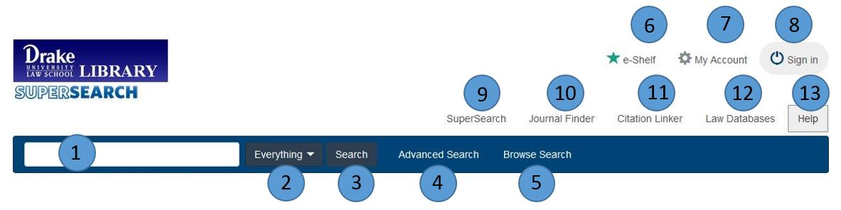 Numbered image of the SuperSearch screen